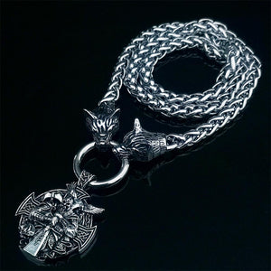 Nordic Viking men's stainless steel necklace wolf head chain