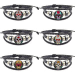 Sugar Skull Fashion Jewelry Cabochon Glass Black Leather Bracelet