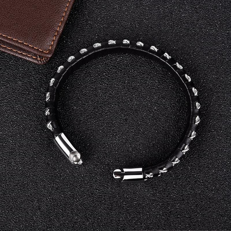 Leather Bracelet for Men Punk Hiphop Style Bracelets Steel