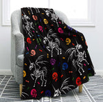 Skull Blanket Floral Skull Throw Blanket Black White Background Sherpa Flannel Blanket