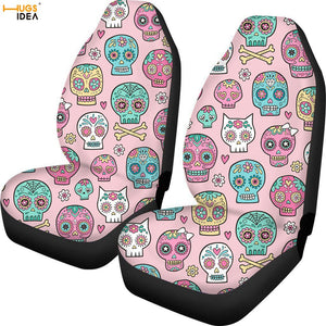2Pcs Sugar Skull Car Seat Cover SUV Interior Decoration Sheet Cushion Protector Anti Dirty