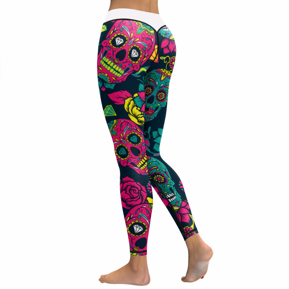 Halloween 3D Print Colorful Yoga Leggings Skull Sexy Fitness Yoga Pants Slim Leggins Sport Women Hot Running GYM Tights