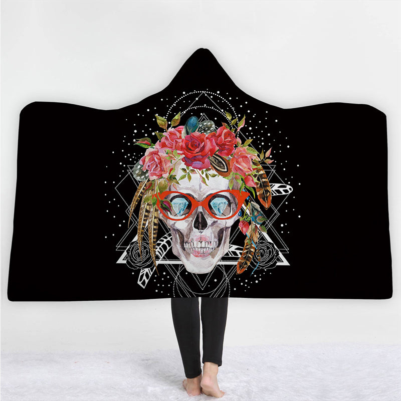 Halloween Skull Hooded Blanket Winter Warm Coral Fleece Printed Portable Anti-Pilling Soft Fluffy Blanket Thick Luxury Family