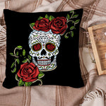 Halloween Sugar Skull Cushion Cover Red Rose Floral