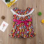 Toddler Baby Girls Dress Skull Print Bow-knot Lace Ruffles Off Shouler Dresses Princess