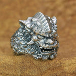 925 Sterling Silver Chinese Style Lion Ring Mens Biker Punk