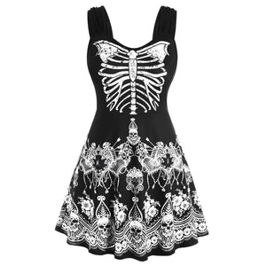 Dress Women Fashion Womens Butterfly Skull Floral Halloween Plus