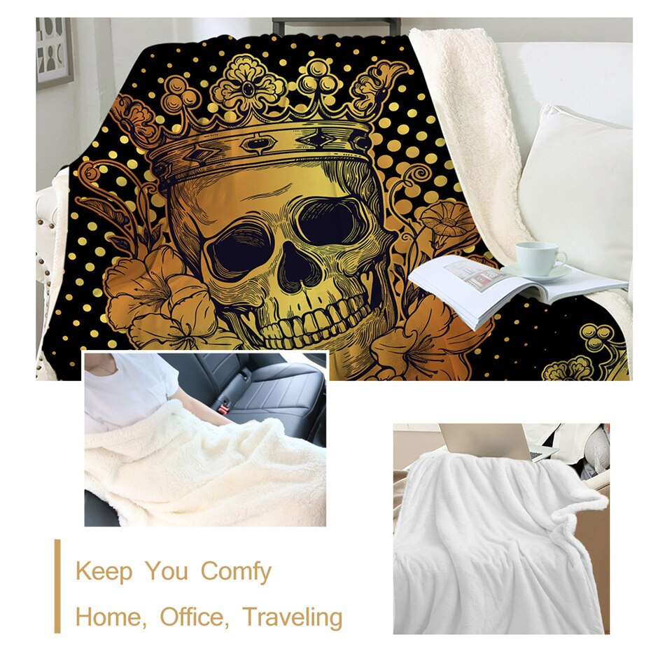 Skull Collection Sherpa Blanket Floral Golden Plush Sofa Throw Blanket