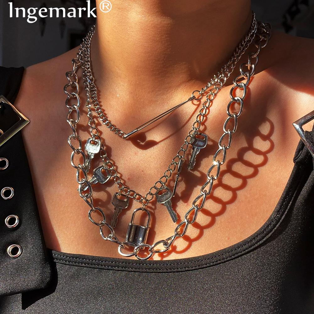 Exaggerated Hip Hop Big Chunky Lock Key Pendant Necklace