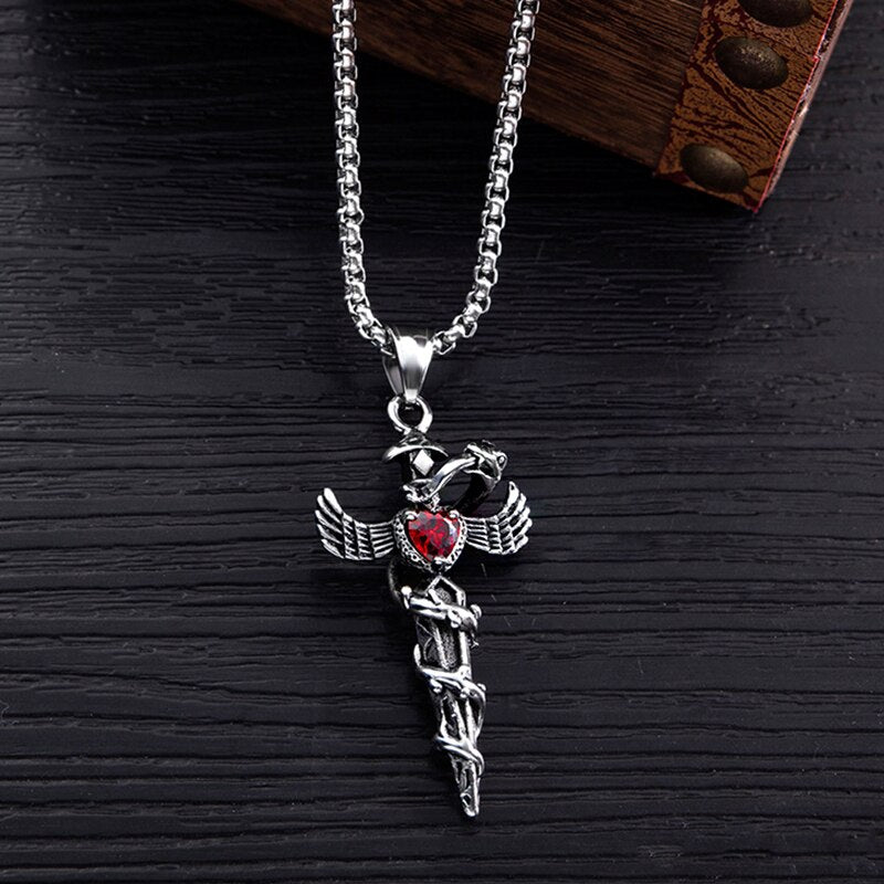 Exaggerated Punk Heart Cross Titanium Steel Necklace