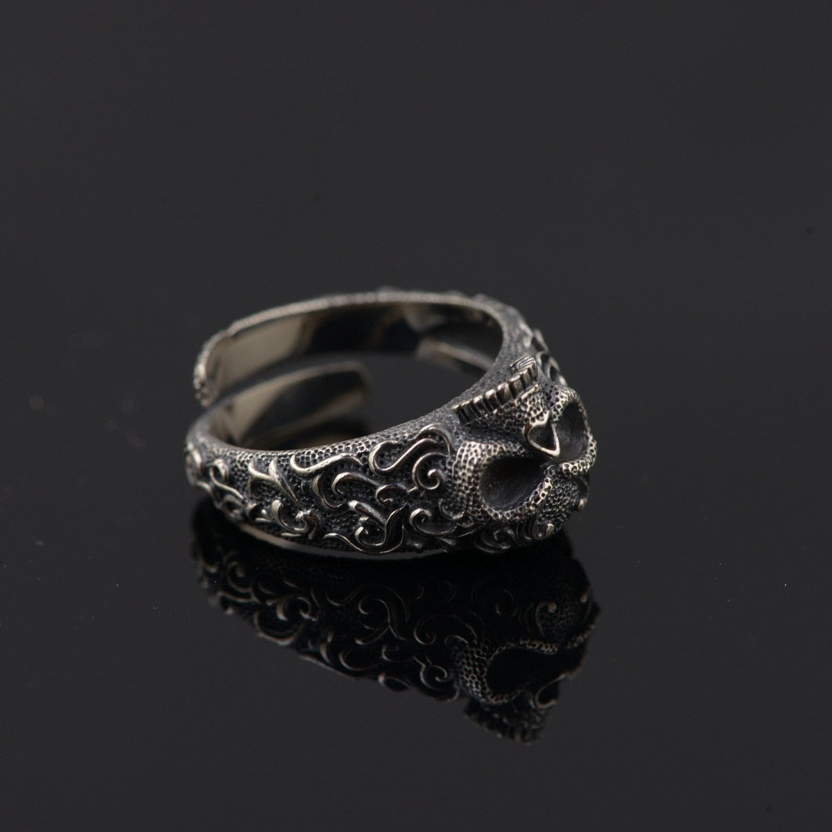 Gothic Punk Skull Rings For Men And Women 925 Sterling Silver Jewelry Resizable