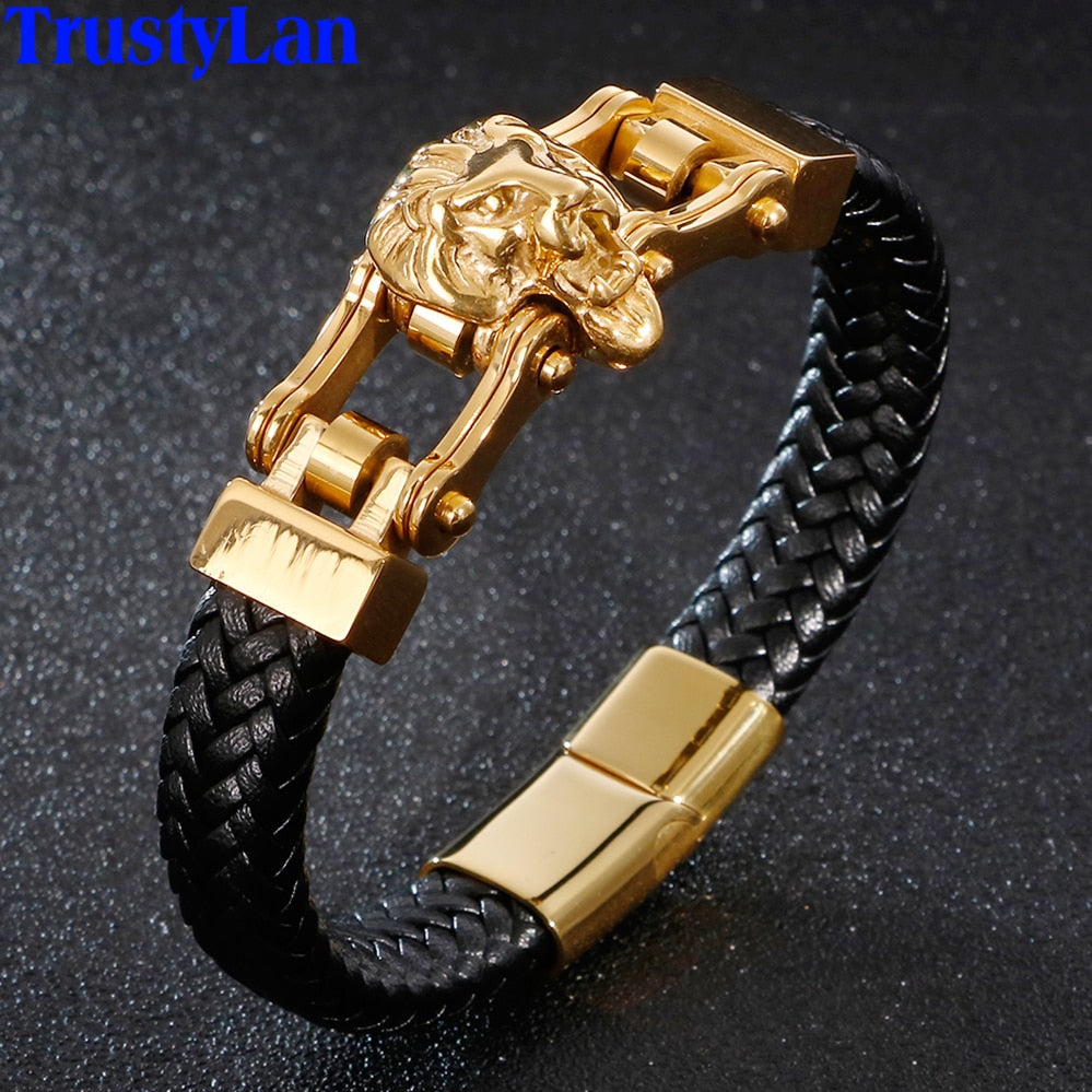 Lion Head Mens Bracelets & Bangles Braided Genuine Leather Bracelet