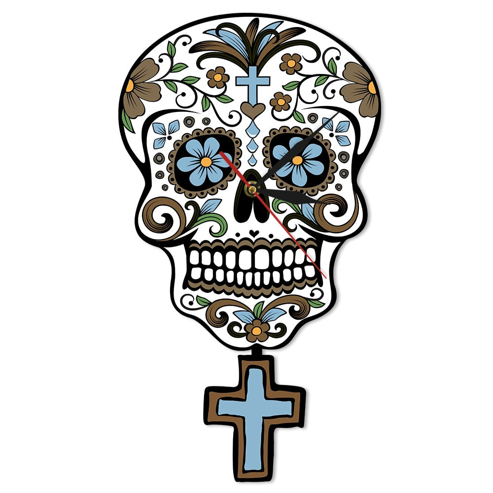Mexican Day of the Dead Floral Sugar Skull Pendulum Wall Clock