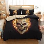 3D Sugar Skull Bedding Set 3 pcs Polyester Black Duvet Cover 240x220
