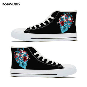 Cool Skull with Flower Design Canvas Shoes Women Men Fashion