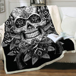 Sugar Skull Blanket for Beds Floral Roses Thin Quilt Fashionable Blanket