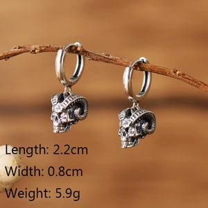 Real 100% 925 Sterling Silver Skull Stud Earrings