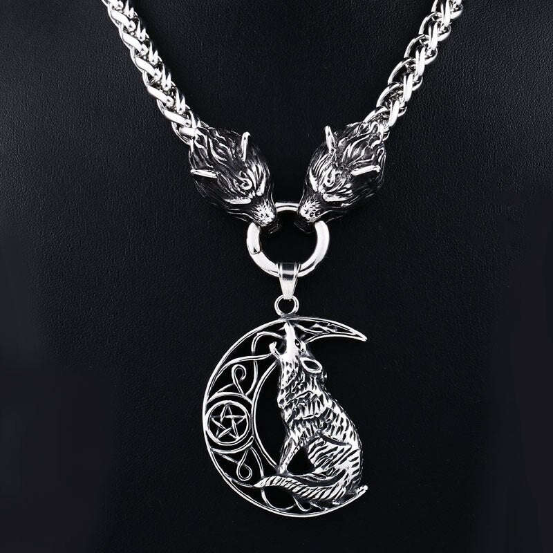 Men stainless steel necklace viking wolf head with Odin
