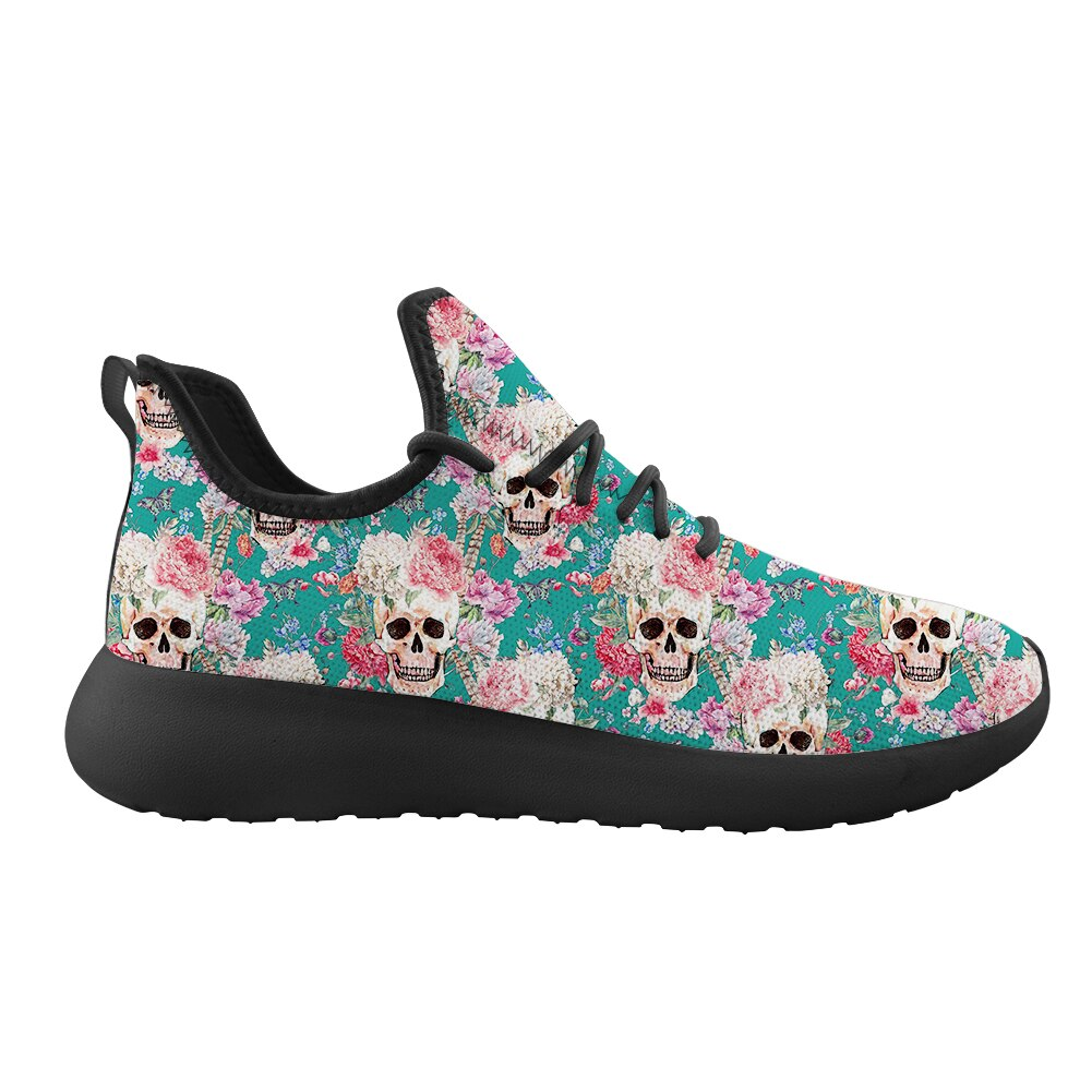 New Skull Flower 3D Pattern Breathable Mesh Shoes