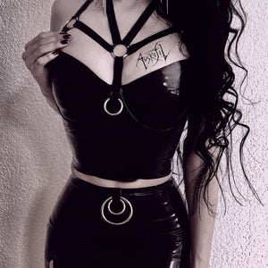 Goth Dark Bodycon Gothic Vintage Cropped Tops Women