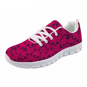Shoes For Women Pink Punk Skull Print Summer Mesh Flat