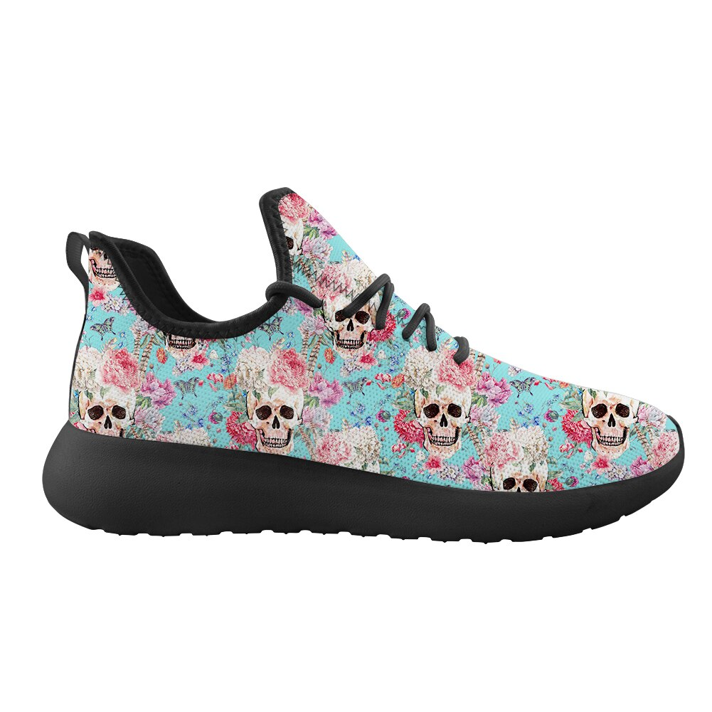 Women's Casual Running Shoes Red Flower Skull Low Top Ladies Flat Printing Custom