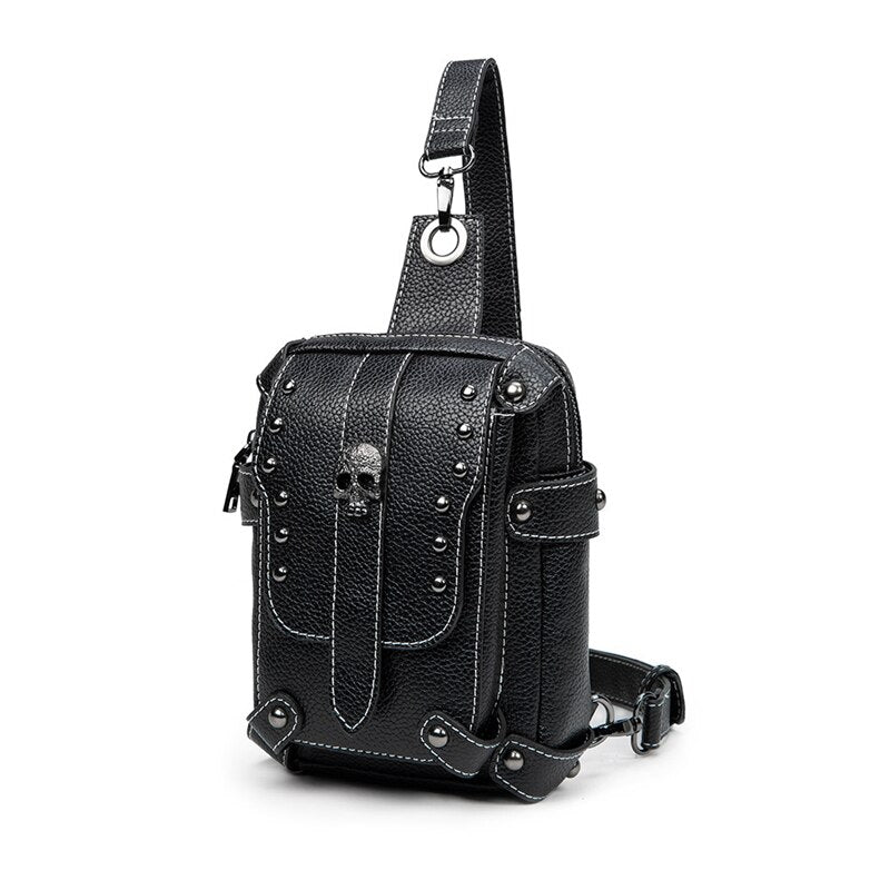 Skull Black Solid PU Leather Women Chest Pack Punk Bags