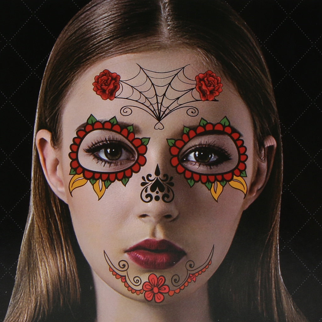 Day of Dead Sugar Skull Temporary Face Tattoo Costume Halloween Stickers