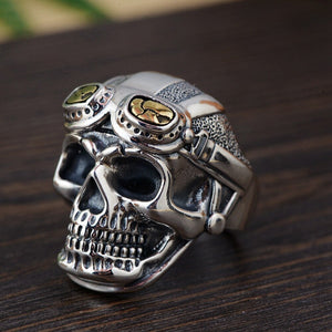 Personalized Biker Rings For Men Genuine 925 Sterling Silver Skull Head With Pilot Glass