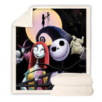 Jack Skellington Print Sherpa Fleece Skull Adults Throw Blanket