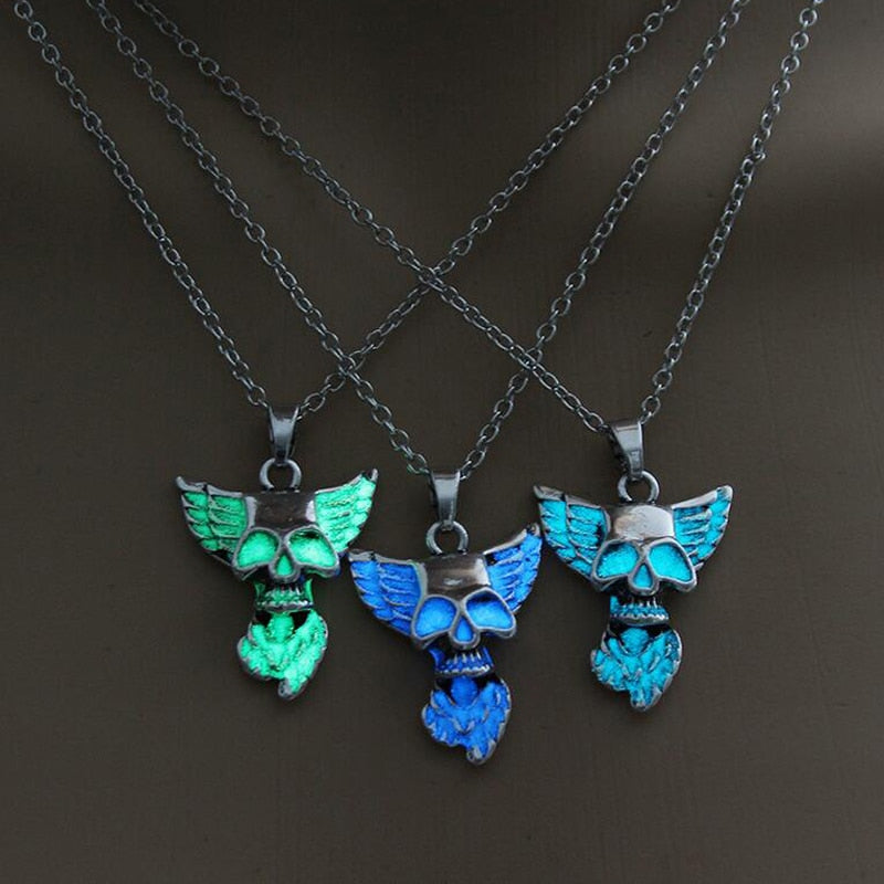 Heart Wing Punk Luminous Skull Pendant Necklace GLOW in the DARK Skull