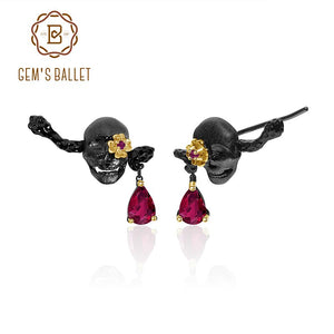 1.26Ct Natural Ruby Filed Glass Skull Stud Earrings 925 Sterling Silver