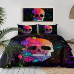 Sugar Skull Bedding Set Rose Floral Duvet Cover Set Gothic Bedclothes Colorful