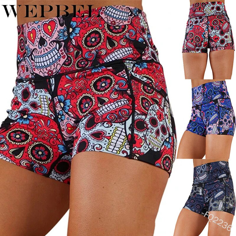 Women Summer Skinny Shorts Casual High Waist Skull Print Short Leggings
