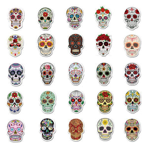 50pc colorful car sticker horrible sugar skull stickers laptop luggage decal SE