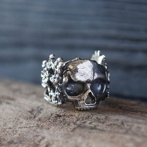 Gothic Mexican Flower Sugar Skull Rings Women Silver