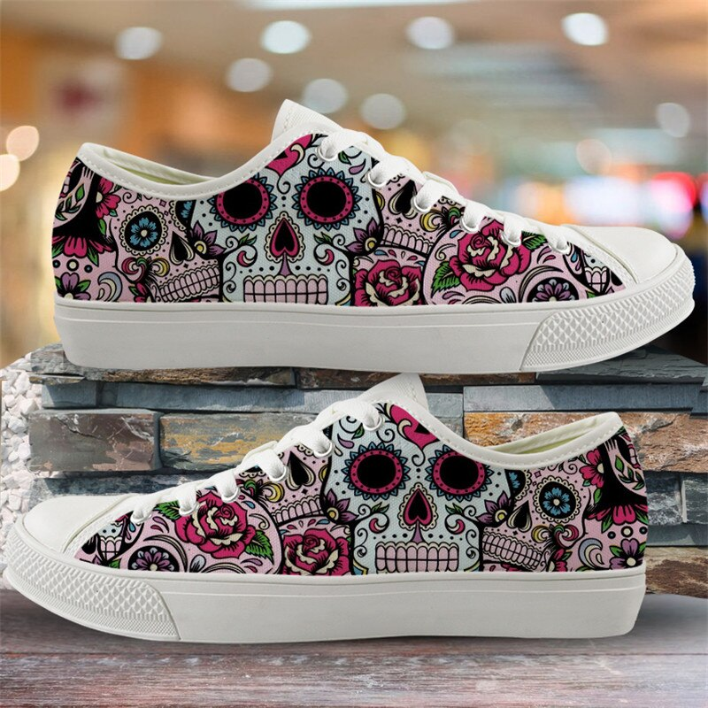 Cute Suger Skull Pattern Women Low Style Canvas Shoes