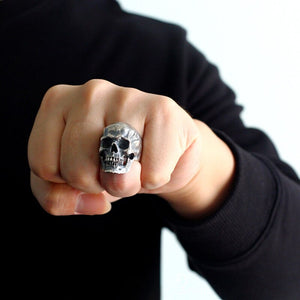 Heavy Punk Skull Rings For Men Real 925 Sterling Silver Jewelry Motorcycle Biker