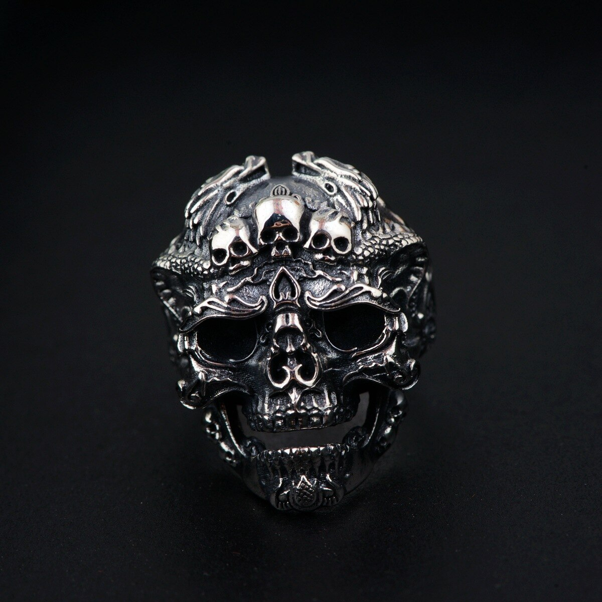 Personalized Skull Head Mens Rings Biker Big Heavy Resizable 925 Sterling Silver Vintage
