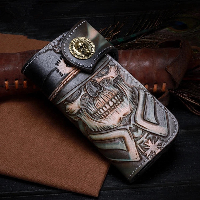 High Artistical Value Genuine Cow Leather Men's Long Wallet Great Handcraft Skull Designer Hand Carved Male Hasp Card Wallet