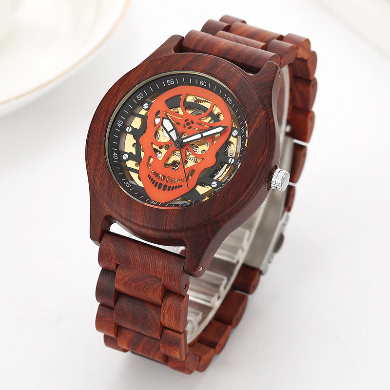 Hollow Skull Head Top Quality Mechanical Wood Wrist Watch Beech Rose Walnut Wooden Strap Luxury Wristwatch for Men and Women