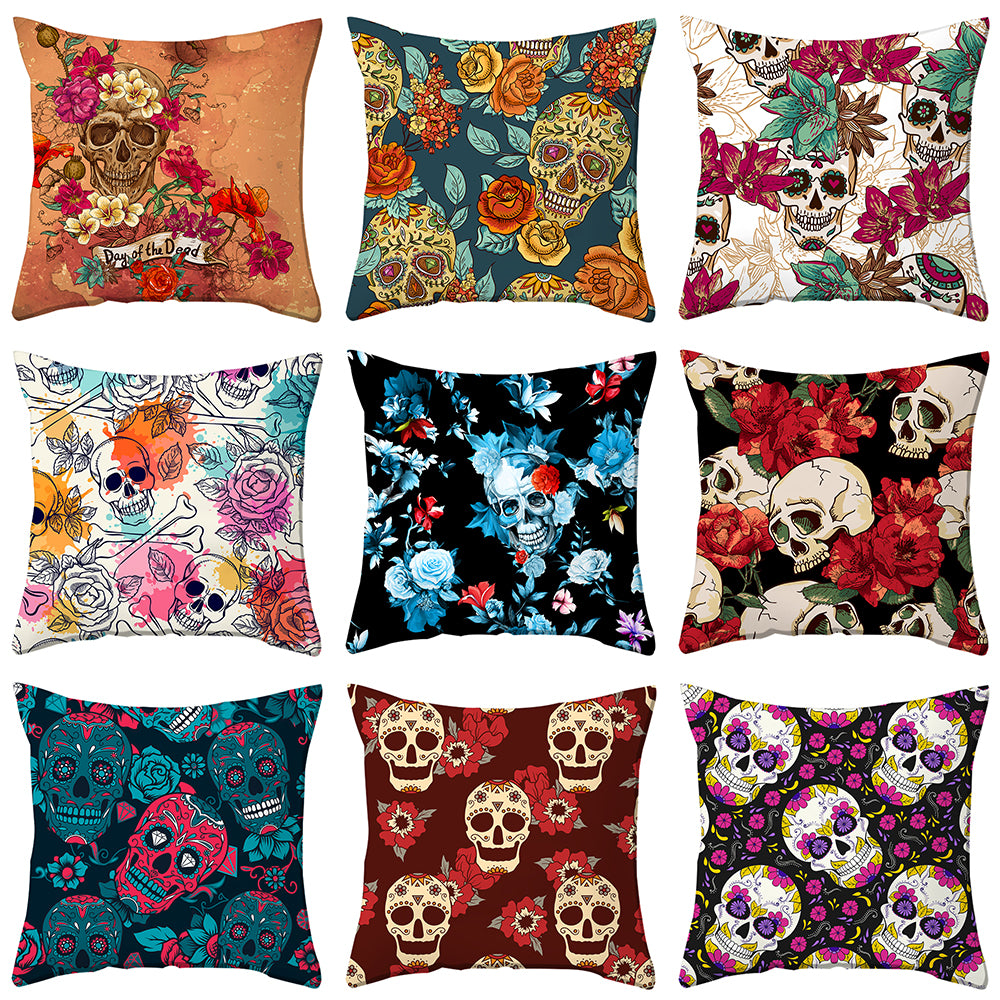 Skull Printed Cushion Cover Nightmare Before Christmas Horrible Skeleton Pillow Case