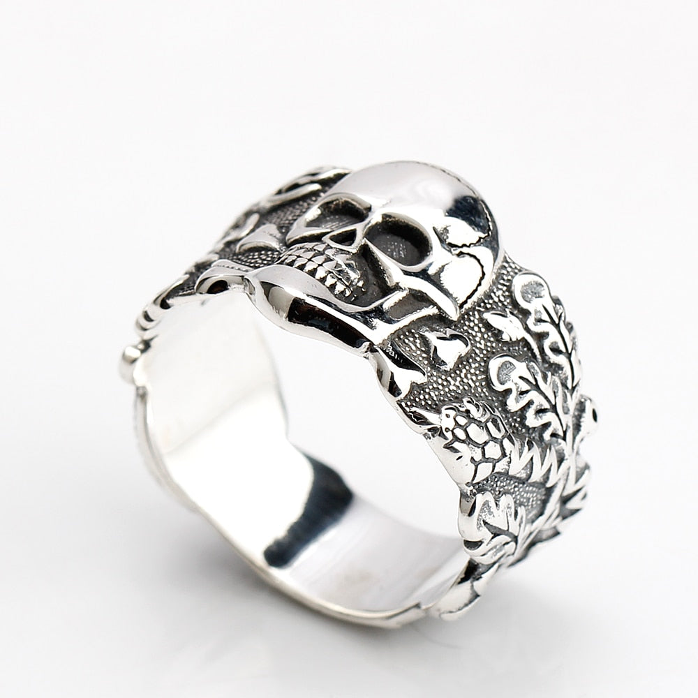 Hot Sale Walking Evil Skull Punk Style 100% Real 925 Sterling Silver Ring Silver Cool Vintage Ring for Men