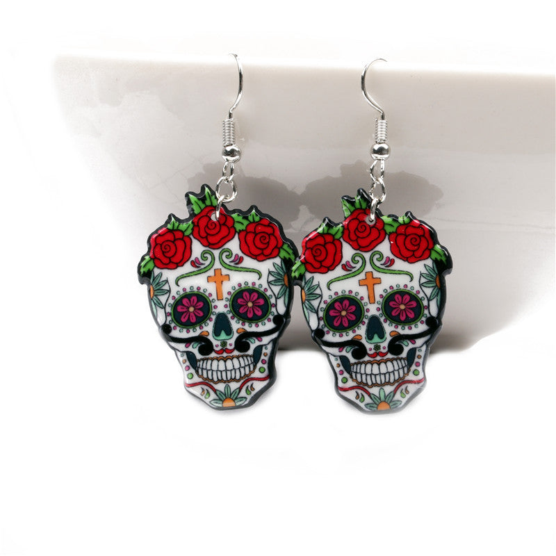 Hot Sale Women Girl Funny Sugar Skull Earrings Trendy Retro Red Rose Flower Earrings For Skeleton Acrylic Earrings Party jewelry
