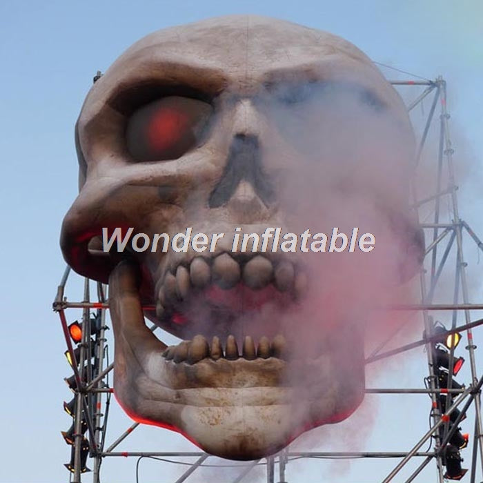 Hot sale 4m outdoor inflatable halloween decorations giant skull head for advertising