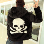 Hot sell Winter new Leather grass overcoats male skull pattern fashion Hoodie faux fur coat Cozy black rabbit fur jacket