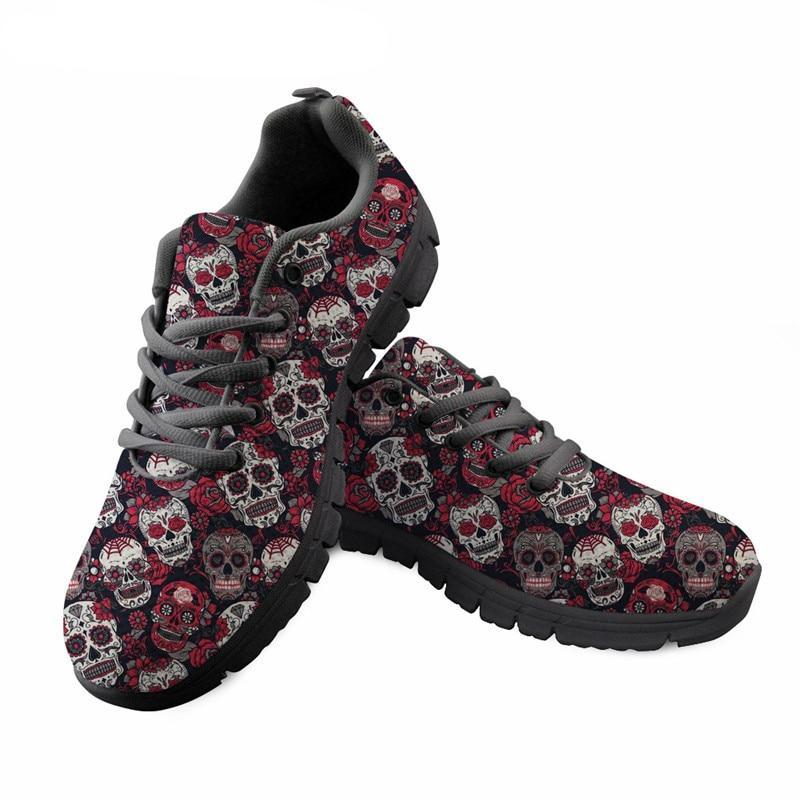 Sugar Skulls Printing Women Lace Up Flat Shoes Summer Mesh Breathable