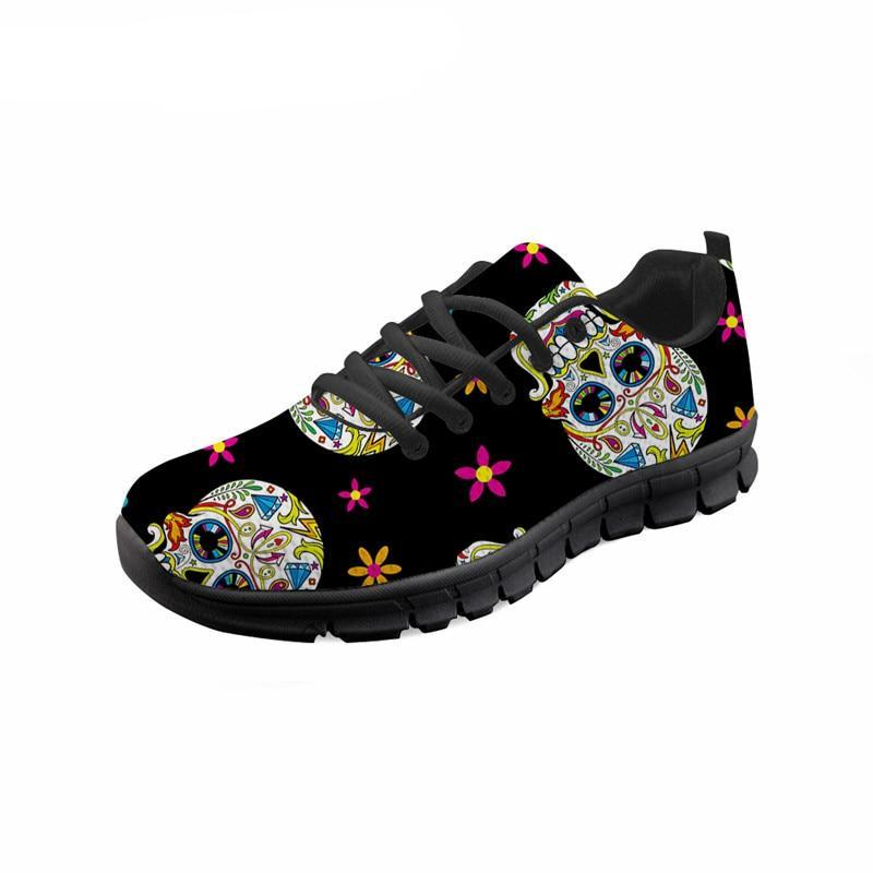 Skull Floral Fashion Casual Brand Flats Shoes Ladies Casual Sneakers