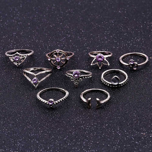 9 Pcs/set Tail Compass Yoga Water Drop Hollow Carved crystal Women Ring Set