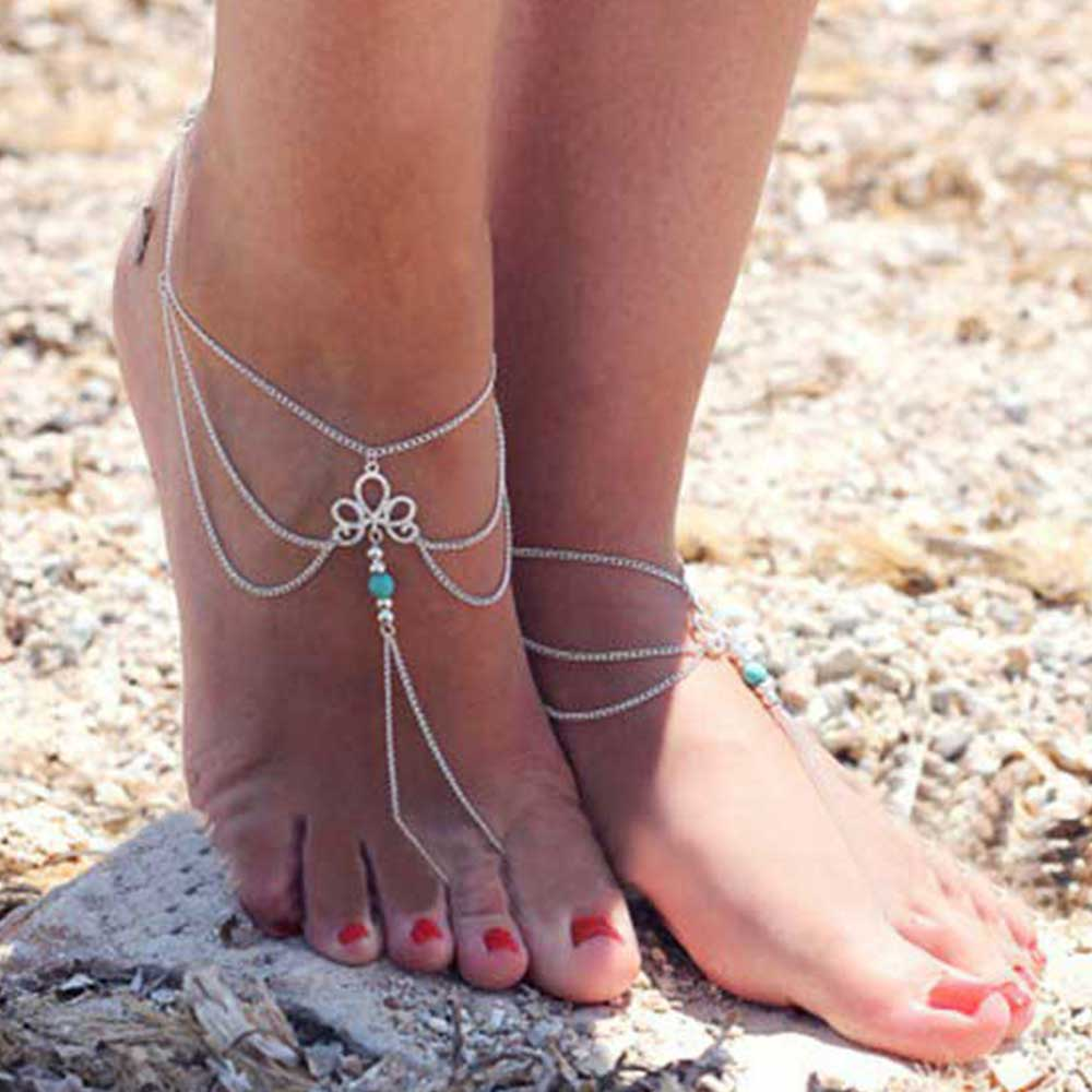 Blue Stone Ankle The New fashion Simple Retro Hollow Pattern Gem Beaded tassel Even referring to Beach Anklet Female